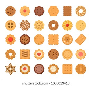 Big set of cookies and biscuits. Isolated on white background. Vector illustration.