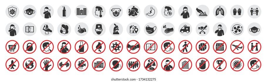 Big set of coronavirus icons. Preventive virus protection measures, quarantine icons, prohibition symbols, virus prevention
