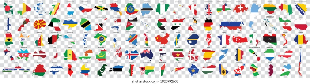 big set of countries maps with flag on transparent background