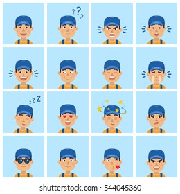 Big set of courier, mechanic, workman emoticons. Man avatars showing different facial expressions. Happy, sad, smile, laugh, cry, tired, in love and other emotions. Simple style vector illustration