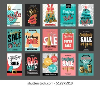 Big set of creative sale holiday website banner templates. Christmas and New Year hand drawn illustrations for social media banners, posters, email and newsletter designs, ads, promotional material.