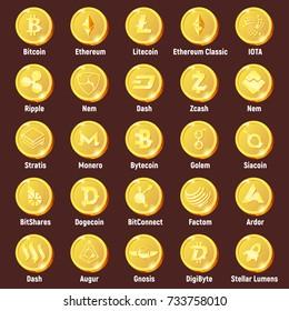 Big set of cripto currency logo coins:  Lumens, Siacoin, Nem, IOTA, BitConnect, Gnosis, Bytecoin, Dash, Litecoin, Dogecoin, Augur, Monero, Nem, Ethereum, BitShares, Dash, Stratis, Ripple, Bitcoin