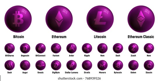 Big set of cripto currency logo cirles: Ethereum Classic, Siacoin, Nem, IOTA, BitConnect, Gnosis, Bytecoin, Dash, Litecoin, Augur, Monero, Nem, Ethereum, BitShares, Dash, Stratis, Ripple, Bitcoin