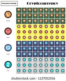 Big set of crypto currency logo coins: Lumens, Siacoin, Nem, IOTA, BitConnect, Gnosis, Bytecoin, Dash, Litecoin, Augur, Monero, Nem, Ethereum, BitShares, Dash, Stratis, Ripple, Bitcoin and other