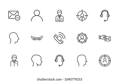 Big set of customer line icons. Vector illustration isolated on a white background. Premium quality symbols. Stroke vector icons for concept or web graphics. Simple thin line signs.