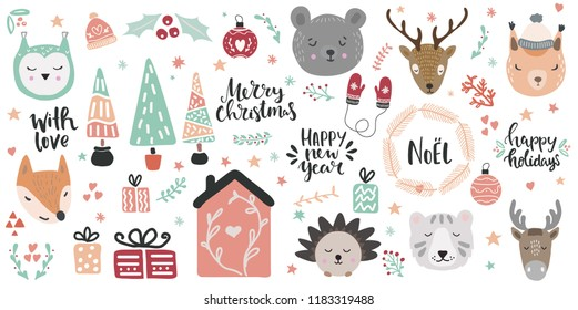 Big set of cute animal faces and christmas hand drawn lettering and clip art design elements. Woodland animals vector illustration