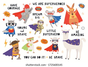 Big set of cute animal superheroes in masks, capes, flying, with quotes. Isolated objects on white background. Hand drawn vector illustration. Scandinavian style flat design. Concept for kids print.
