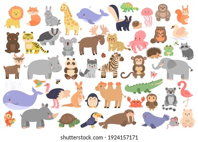 Big set of cute animals in cartoon style isolated on white background. Vector graphics.