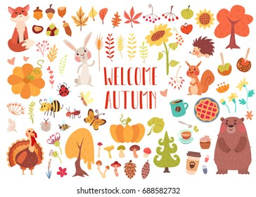 Big set of cute autumn animals, birds, insects, plants and sweets. Fall season stickers and clip-art. Thanksgiving design on white background.