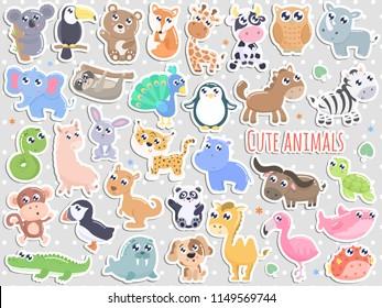 Big set of cute cartoon animal stickers  vector illustration. Flat design.