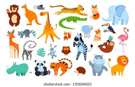 Big set of cute cartoon animals isolated on white background. Flat vector illustration.