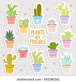 big set of cute cartoon cactus and succulents stickers. cute stickers or patches or pins collection. plants are friends set