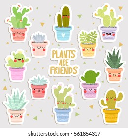 big set of cute cartoon cactus and succulents with funny faces stickers. cute stickers or patches or pins collection. plants are friends set