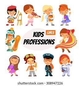 Big set of cute cartoon children in professions. Various professions for little girls. Vector illustration