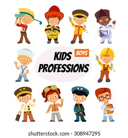 Big set of cute cartoon children in professions. Various professions for little boys. Vector illustration