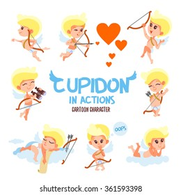 Big set of cute cartoon cupids in various poses and actions. Vector illustrations for Valentine's day. Isolated on white