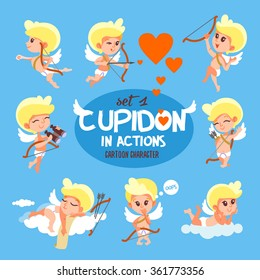 Big set of cute cartoon cupids. Suitable for Valentine's day design. Vector illustration