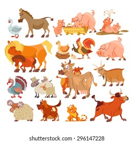 Big set of cute cartoon farm animals: donkey, pig family, horses, chicken and rooster, turkey, sheep family, cow, goat, dog, cat. Vector illustration with design elements isolated on white background