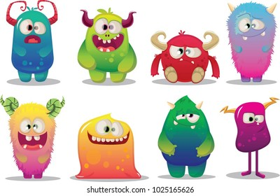 big set of cute cartoon funny colorful monsters