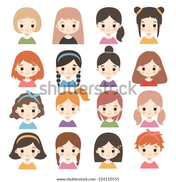 Big Set Cute Cartoon Girls Characters Stock Vector Royalty Free