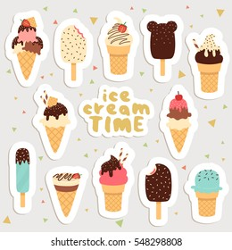 big set of cute cartoon ice creams stickers. cute stickers, patches or pins collection. ice cream time stickers set