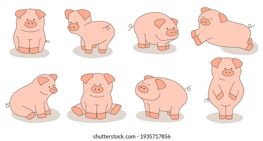 Big set of cute cartoon pigs isolated on white background. Vector illustration.