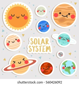 big set of cute cartoon planets with funny faces stickers. cute stickers, patches or pins collection. solar system stickers set