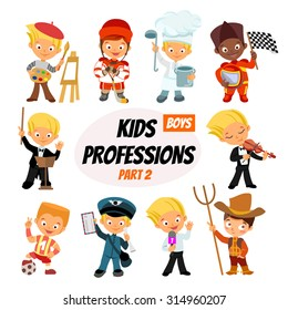 Big set of cute cartoon professions for kids. Painter, hockey-player, cook, racer, bandmaster, postman, journalist,farmer. Funny cartoon boys. Professions icon set. Vector illustration