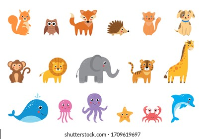 Big set of cute cartoon vector animals. Isolated pictures of wildlife animals on white background.
