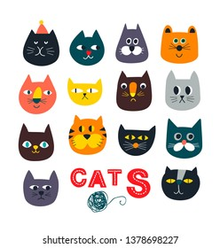 Big set of cute cat faces in retro childish style. Vector design of funny and cute domestic prts. Colorful animals heads as scandinavian poster design in baby room or print on t-shirts.