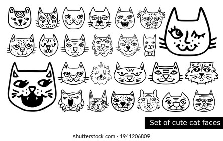 Big set of cute cat faces for nursery icons, avatars. Funny pet heads for kids prints, patterns design. Animals for baby. Cartoon character of kitty. Soulful doodle. Black picture of hand-drawn puss