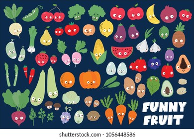 Big set of Cute funny fruit, vegetables and berry/ Vegan and organic food