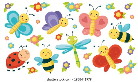 Big set with cute insects. Colorful vector illustration in flat style. Butterflies, dragonfly, bees, ladybird and tiny flowers isolated on a white background. Smiling characters for childish design.