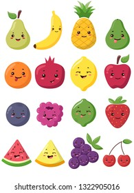 Big set of cute kawaii fruits and berries characters. Apple, pear, berry, orange emoji.  It can be used for sticker, patch, phone case, poster, t-shirt, mug and other design.
