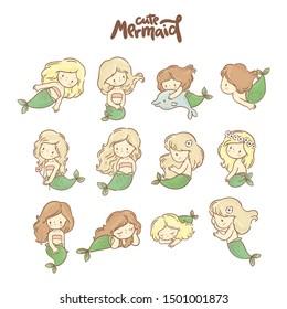 Big set with Cute little mermaids