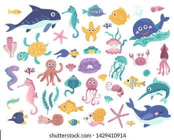 Big set of cute marine inhabitants. Colorful vector illustration collection