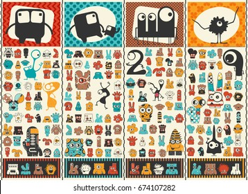 Big set of Cute monsters . Colorful characters stickers. Poster with funny humanoids. Cartoon illustration for different use.