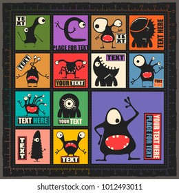 Big set of cute monsters with different emotions and place for text on colorful backgrounds. cartoon illustration