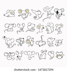 Big set with cute mouse and rats/ new year 2020 simbol