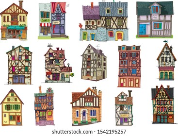 A big set of cute old half timbered houses. Medieval facades. Cartoon. Caricature.
