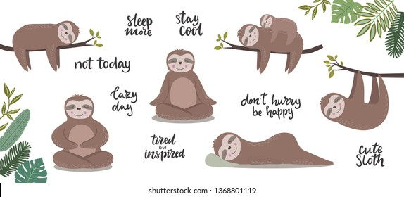 Big set of cute sloths characters sitting, meditating, hanging on trees branches and hand written lettering phrases about laziness and resting