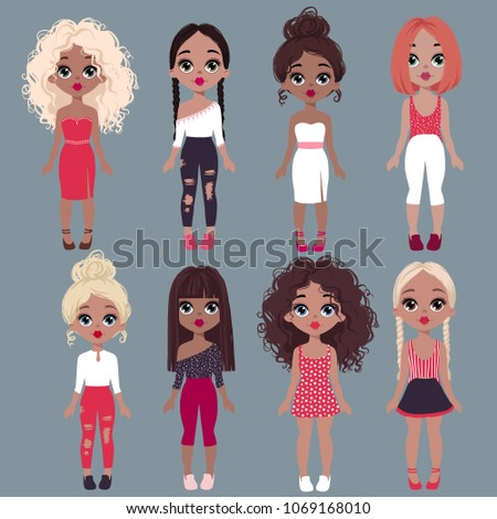 3e7c325ef84c Big Set Cute Vector Fashion Girls Stock Vector (Royalty Free ...