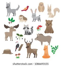 Big set Cute Woodland animals and forest plants design elements. Plants, bushes, deer, elk, bear, hedgehog, hare, birds, raccoon, bear, Fox, wolf and others. Vector illustration in flat design.