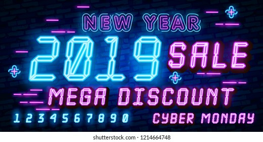 Big set Cyber Monday, Vector illustration discount sale concept in neon style, online shopping and marketing concept. Neon Light signboard, bright banner