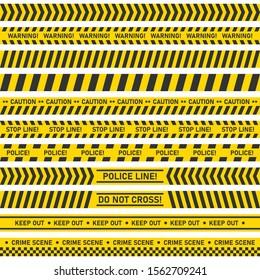 Big set of danger caution seamless tapes on white background. Vector illustration.