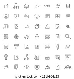 big set of database icons vector design with simple outline and modern style, editable stroke