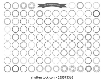 Big set of decorative round frames. Vector design elements.