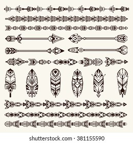 Big set of design elements in bohemian (boho) and tribal style: arrows, borders, feathers.