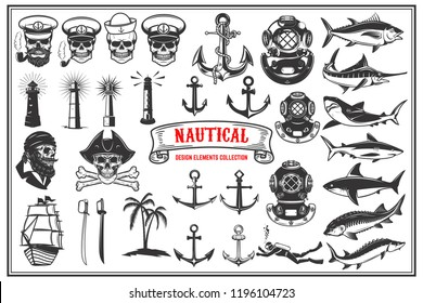 Big set of design elements for nautical emblems, seafood restaurant. Vector illustration.