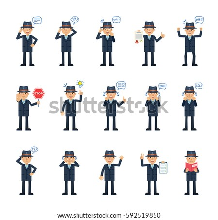 big set detective characters showing different stock vector royalty